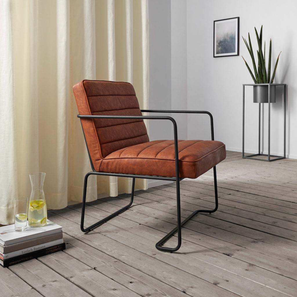 Home affaire Loungesessel »Panama«, mit einem schönen Metallgestell und einem pflegeleichten Kunstleder in Vintage-Optik