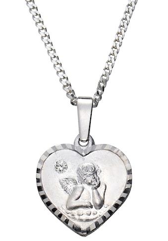 Firetti Kette mit Anhänger »Herz, Engel mit Gravur, matt und glänzend, diamantiert«, mit Kristallstein kaufen