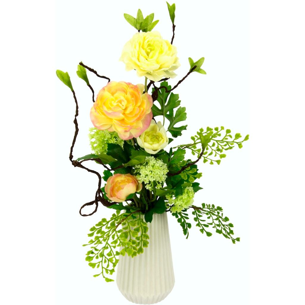 I.GE.A. Kunstblume »Arrangement Ranunkel«, Vase aus Keramik