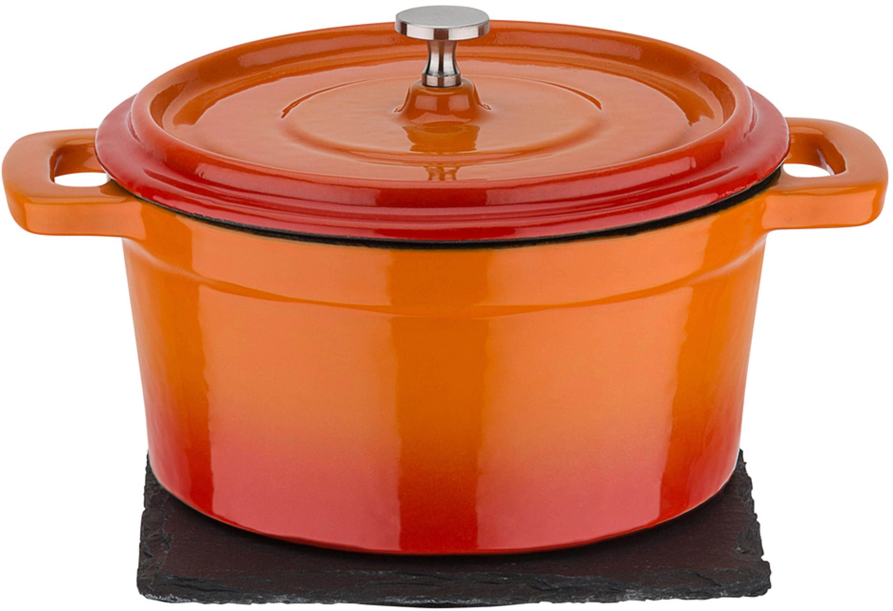 GSW Serviertopf Orange Shadow, Gusseisen, (1 tlg.), Induktion orange Schmortöpfe Töpfe Haushaltswaren