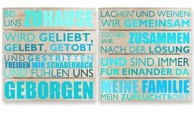 Wall-Art Mehrteilige Bilder »Holzbild Bei uns zu Hause - türkis«, (Set, 2 St.) kaufen