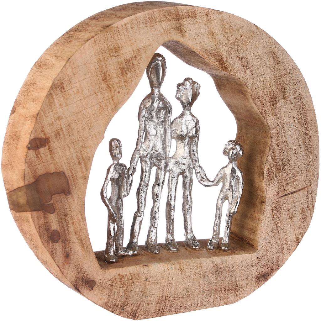 GILDE Dekofigur »Skulptur Familie, silberfarben/natur«, Dekoobjekt, Höhe 28, Familie, handgefertigt, aus Metall und Holz, mit Spruchanhänger, Wohnzimmer