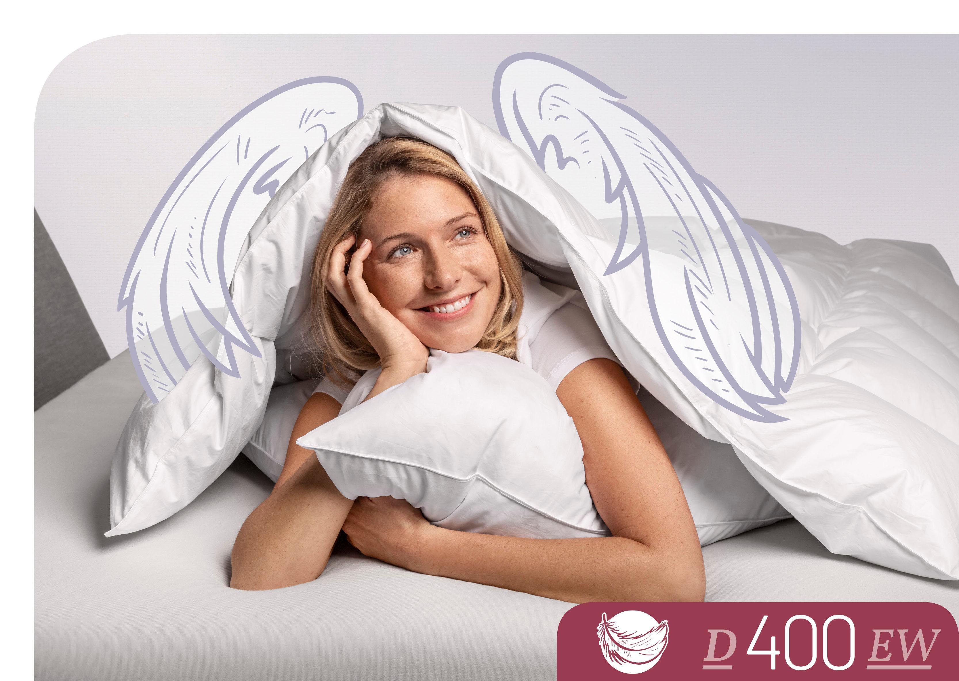 Daunenbettdecke D400 Schlafstil extrawarm Füllung: 90% Daunen 10% Federn Bezug: 100% Baumwolle