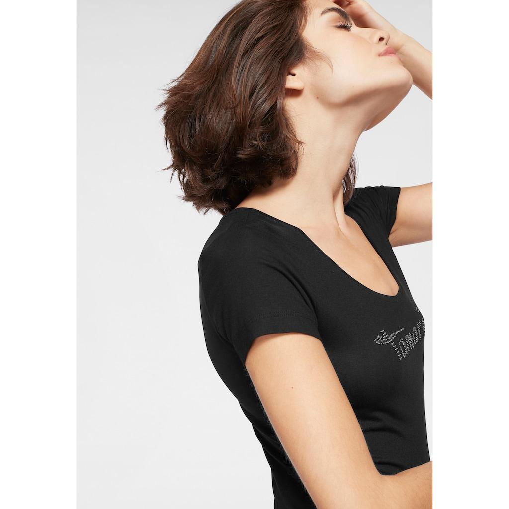 Tamaris Rundhalsshirt, mit Glitzer Logo