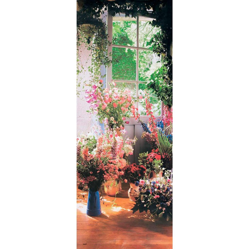Papermoon Fototapete »Sweet Peas in Door - Türtapete«, matt, Vlies, 2 Bahnen, 90 x 200 cm