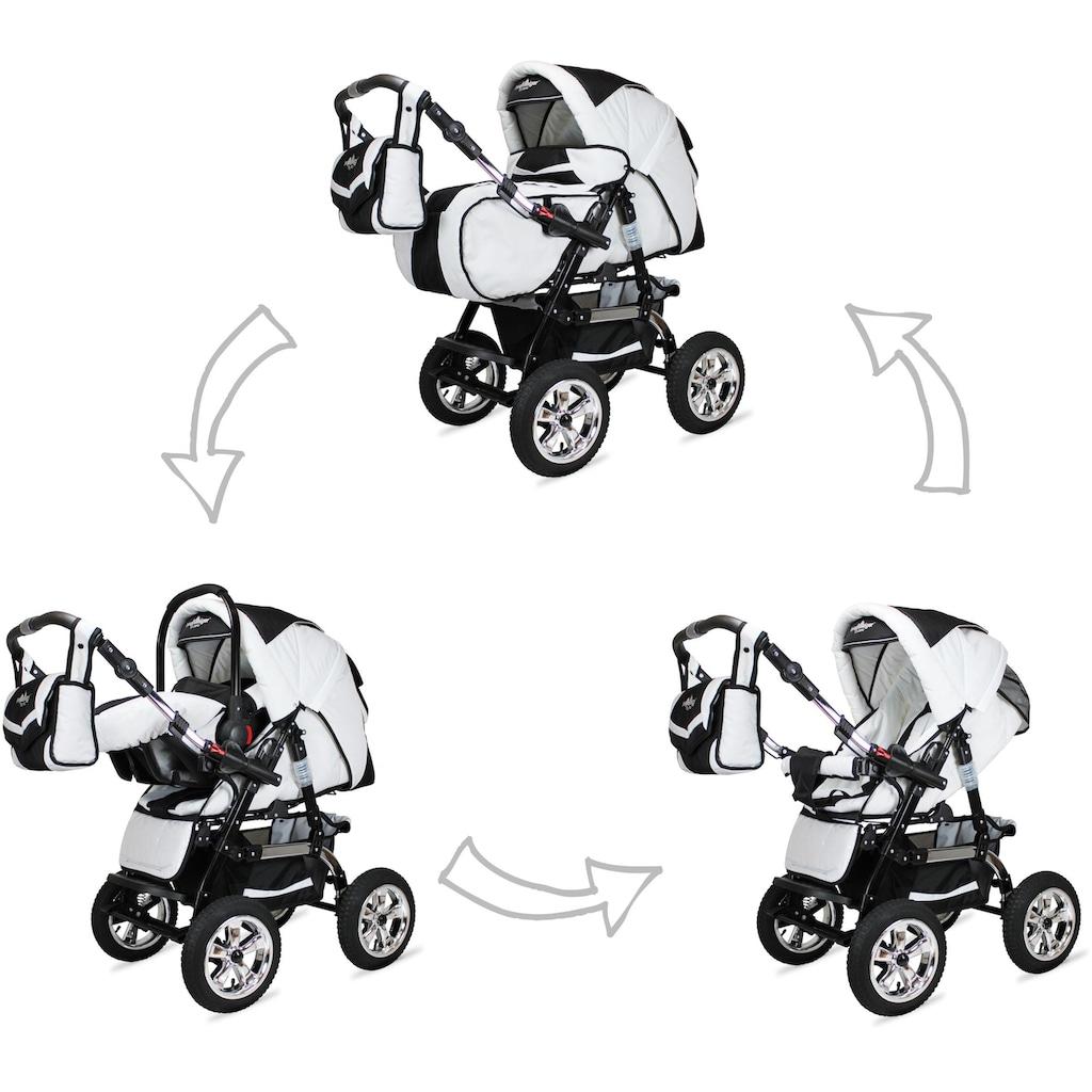 bergsteiger Kombi-Kinderwagen »Milano, white flowers, 3in1«, 15 kg, Made in Europe; Kinderwagen