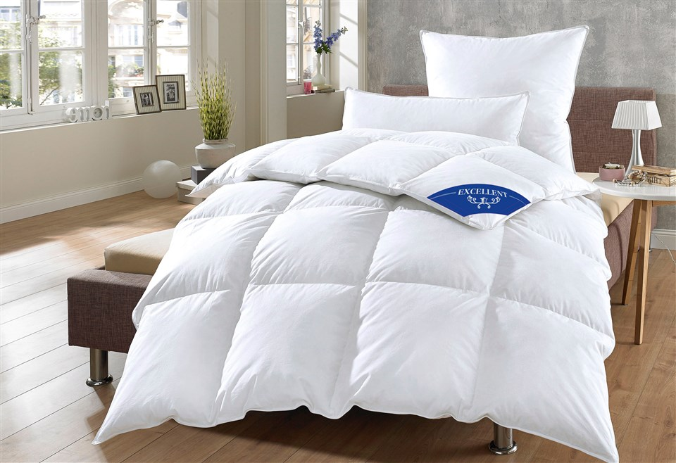 Daunenbettdecken + Kopfkissen Komfort 60% Daunen Excellent warm