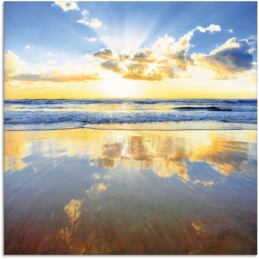 Artland Glasbild »Sonnenaufgang über dem Ozean«, Himmel, (1 St.)