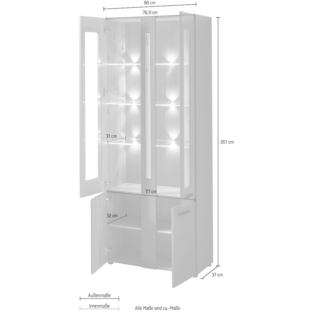 Innostyle Standvitrine »Loft Two«, mit Soft-Close-Funktion, inkl. Beleuchtung