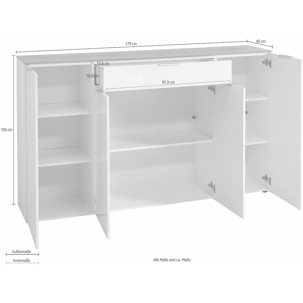 GERMANIA Sideboard »GW-CETANO«, Breite 179 cm