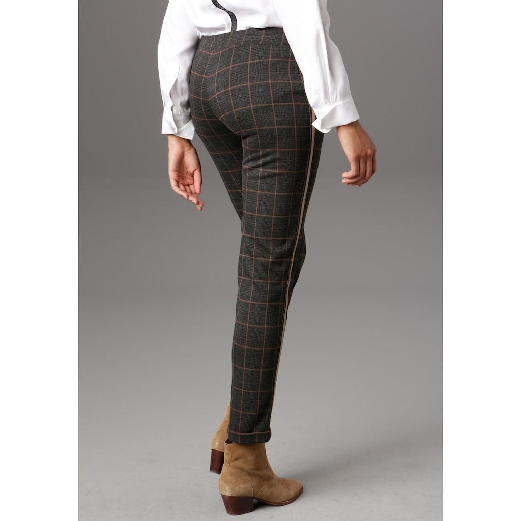 Aniston SELECTED Schlupfhose, mit glänzenden Gallonstreifen