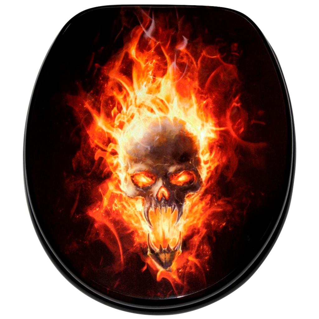 Sanilo WC-Sitz »Totenkopf in Flammen«, mit Absenkautomatik