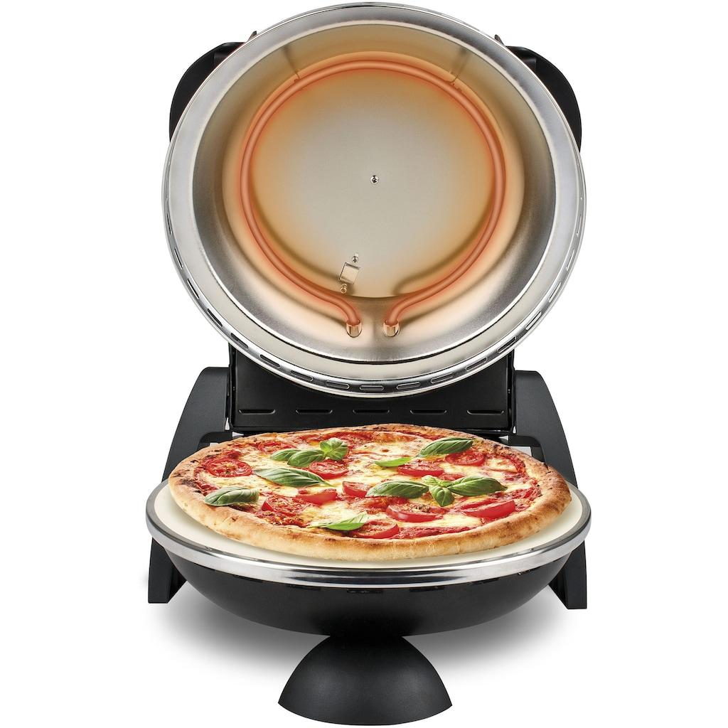 G3Ferrari Pizzaofen »Delizia G1000610 schwarz«, Grill, 1200 W, bis 400 Grad mit feuerfestem Naturstein / Pizza und Fladen uvm. in 3 Minuten / die Nr. 1 weltweit der Pizzamaker / auch für Tisch und Garten