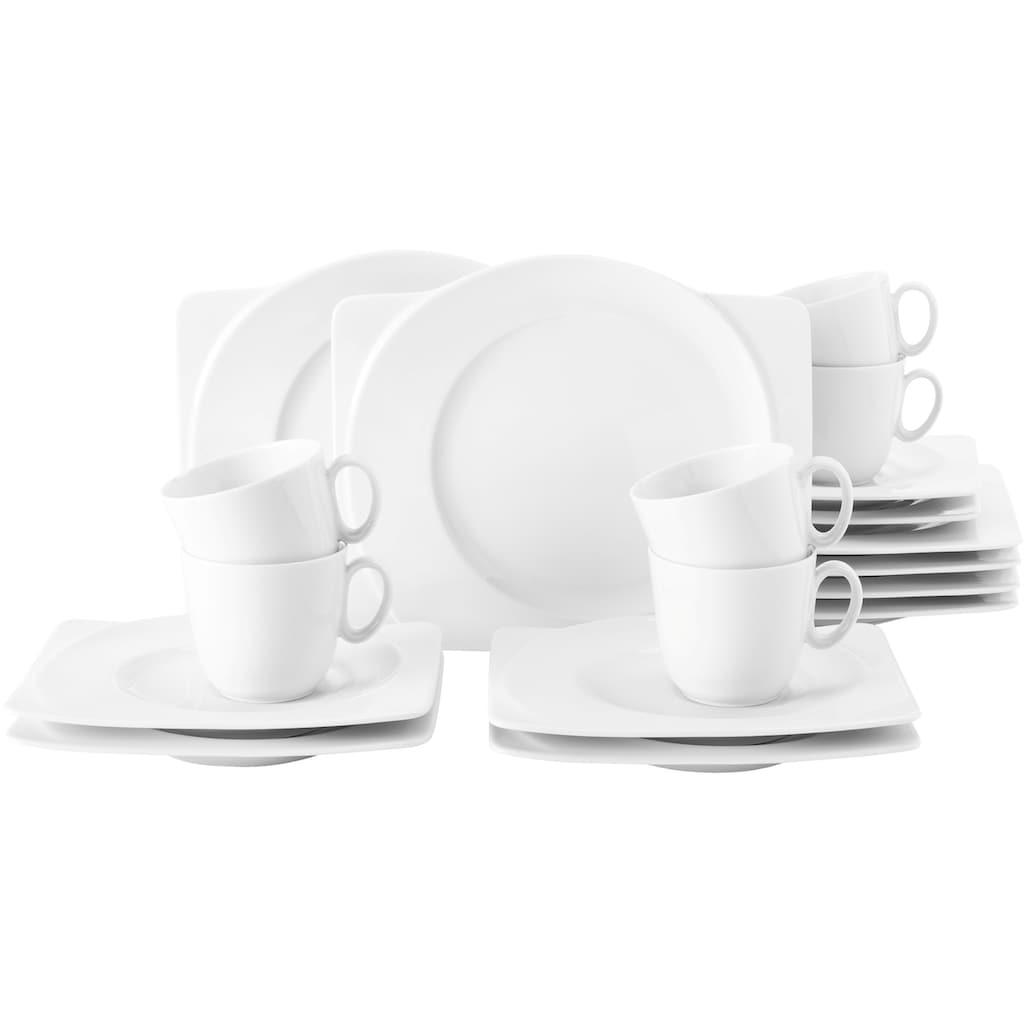 Seltmann Weiden Kaffeeservice »Paso«, (Set, 18 tlg., 6 Kaffeetassen 0,23 l 6 Untertassen eckig 19,5 cm 6 Frühstücksteller eckig 25 cm)