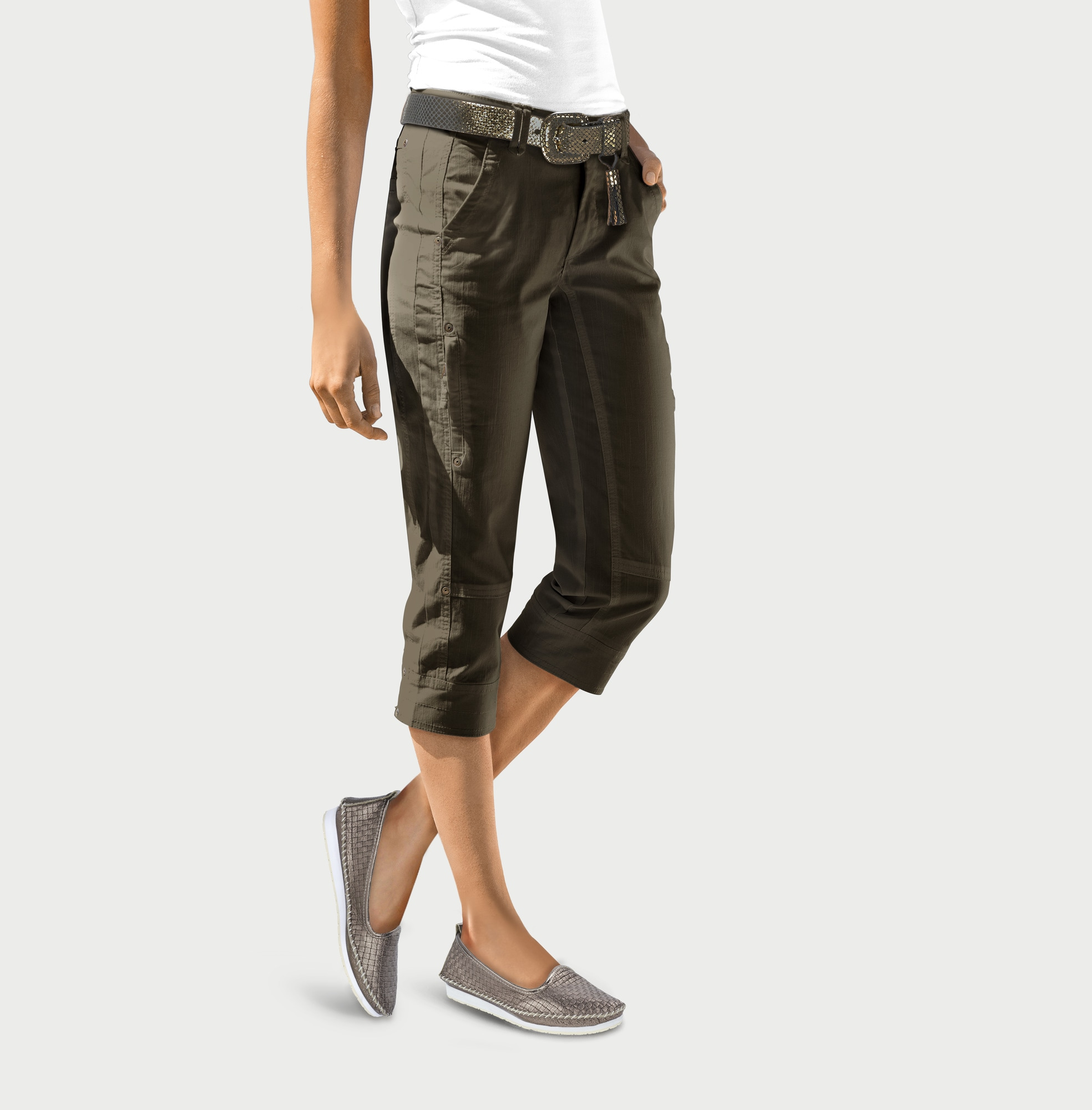 heine CASUAL Caprihose mit Reißverschluss-Taschen | Bekleidung > Hosen > Caprihosen | Grün | Elasthan | Heine Casual