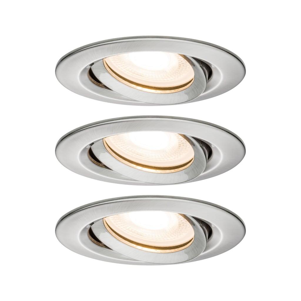 Paulmann LED Einbaustrahler »Nova rund schwenkbar 3x7W GU10 Eisen gebürstet«, GU10, 3 St.