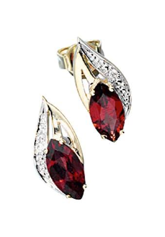 JOBO Paar Ohrstecker, 585 Gold mit 2 Diamanten und Granat kaufen