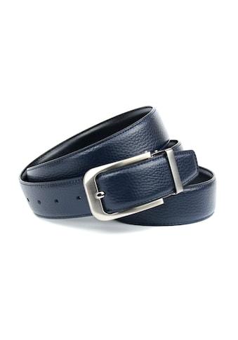 Anthoni Crown Ledergürtel, Wendegürtel in dunkelblau und Schließe silberfarben gebürstet kaufen