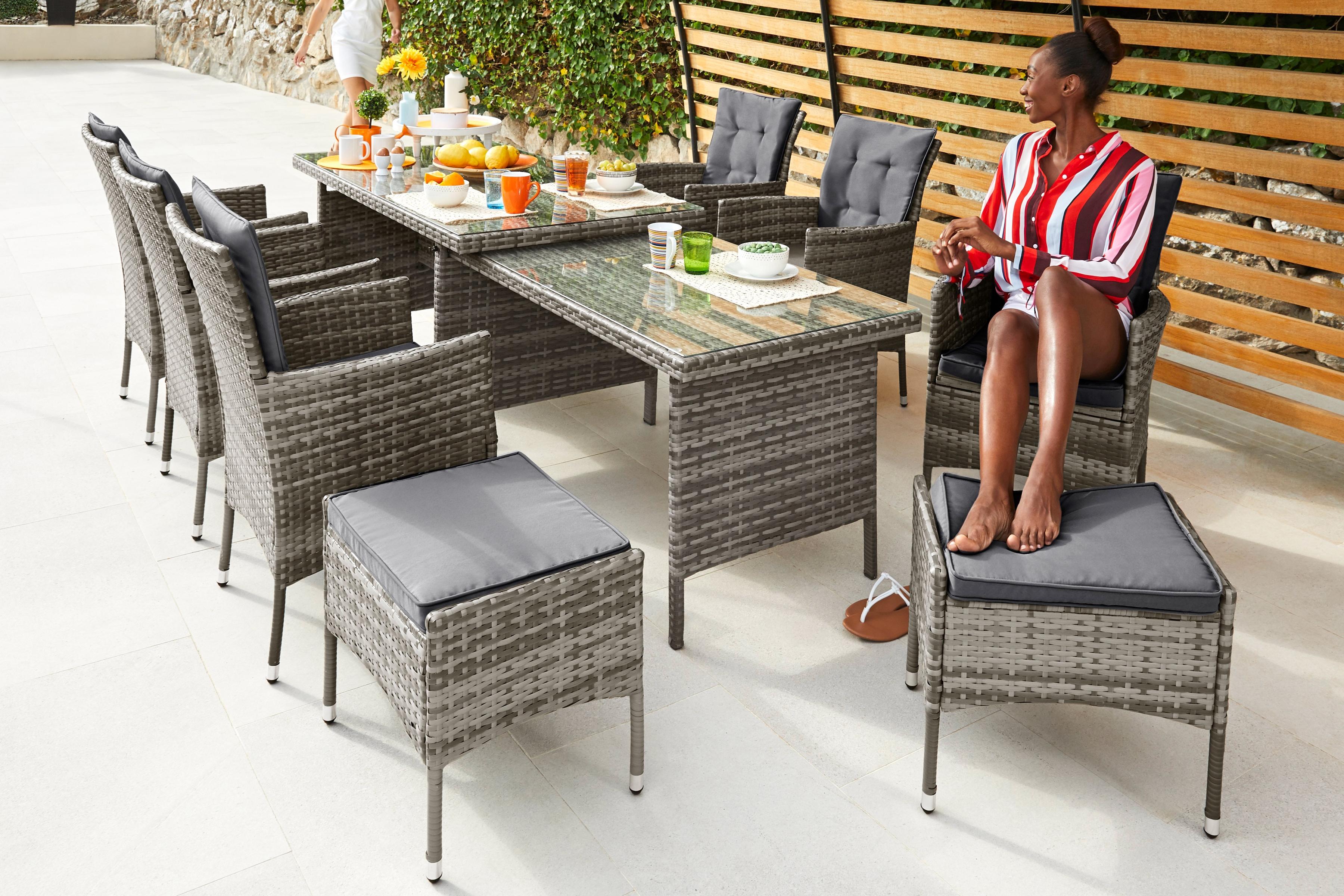 KONIFERA Gartenmöbel-Diningset Lissabon 23-tlg 6 Sessel 2 Hocker Ausziehtisch 795x150-250 cm