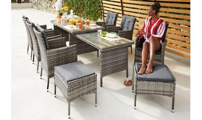 KONIFERA Gartenmöbel - Diningset »Lissabon«, 23 - tlg., 6 Sessel, 2 Hocker, Ausziehtisch 79,5x150 - 250 cm kaufen