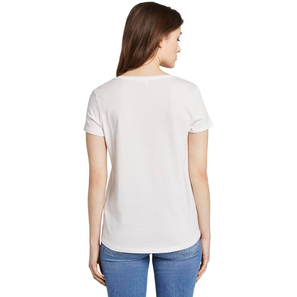 TOM TAILOR Denim T-Shirt, mit Print und Uni-Farben