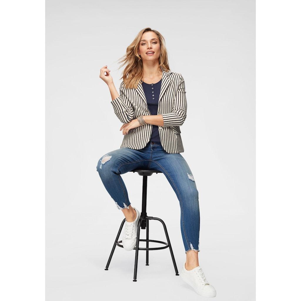 Aniston CASUAL Sweatblazer, im Streifen Dessin