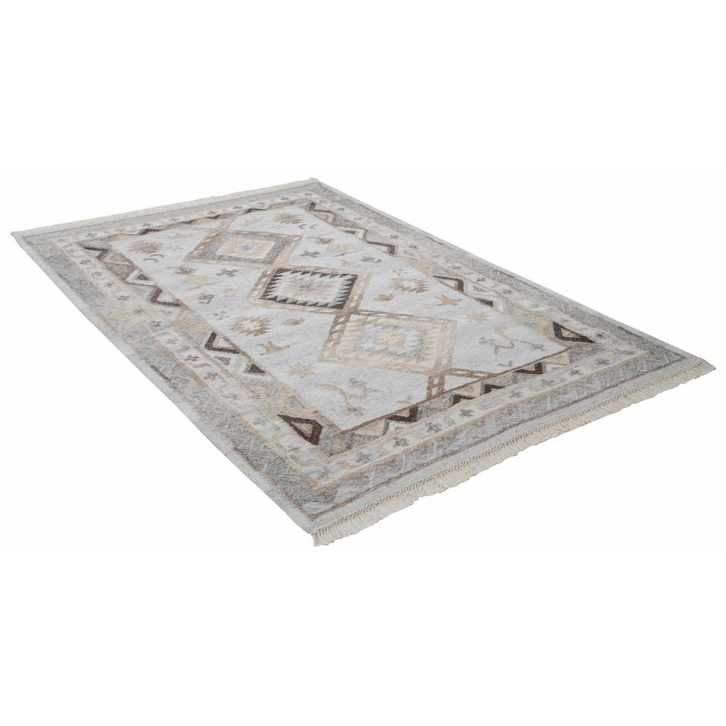 THEKO Wollteppich »Kena 424«, rechteckig, 5 mm Höhe, reine Wolle, Kurzflor, mit Fransen, Wohnzimmer
