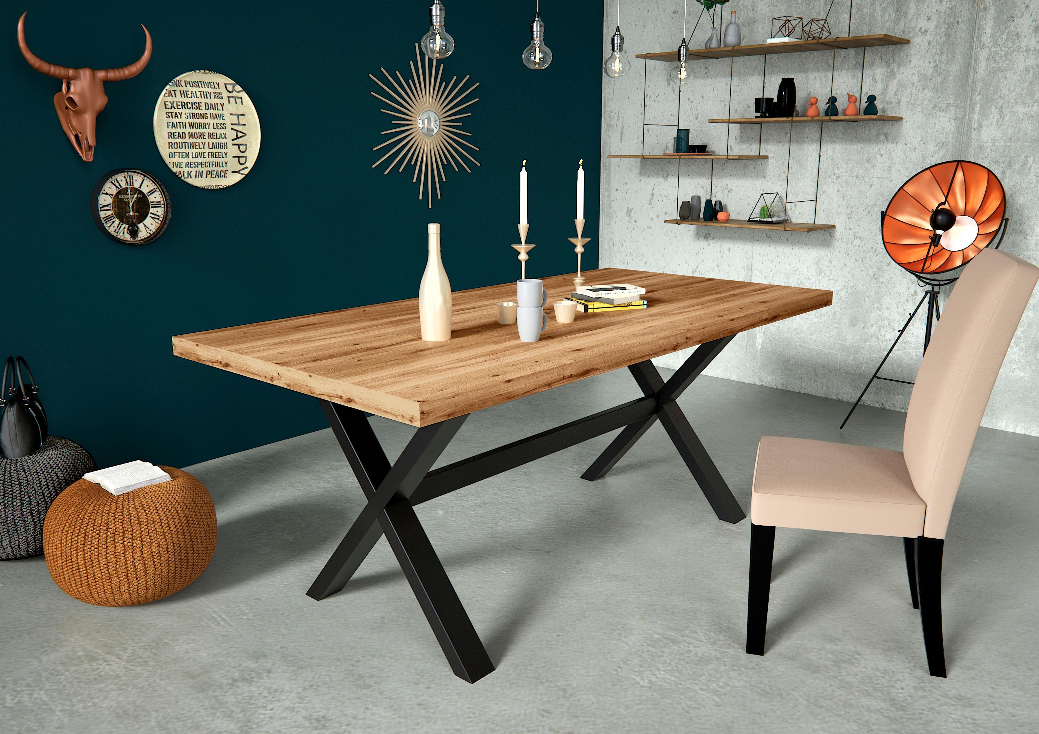 Home affaire Esstisch Concepto aus Keilverzinkter Eiche mit massiven Eichenholzbeinen in schwarz metallischer Optik Breite 180 cm