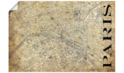 Artland Wandbild »Paris Karte Straßen Karte Sepia« kaufen