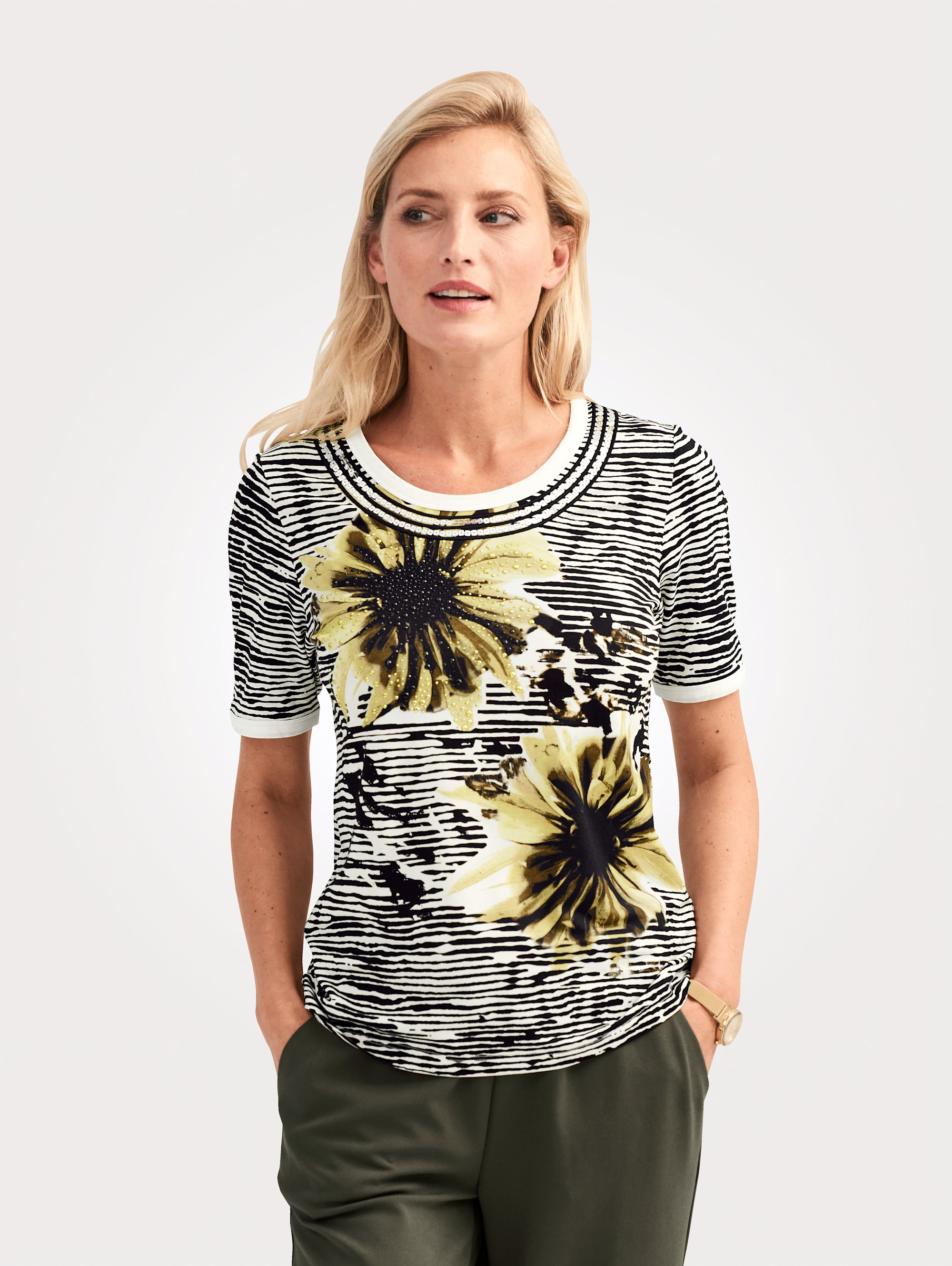 Mona Paillettenshirt, mit Paillettenbänder und Metallplätchen grün Damen Jersey Shirts Sweatshirts Paillettenshirt