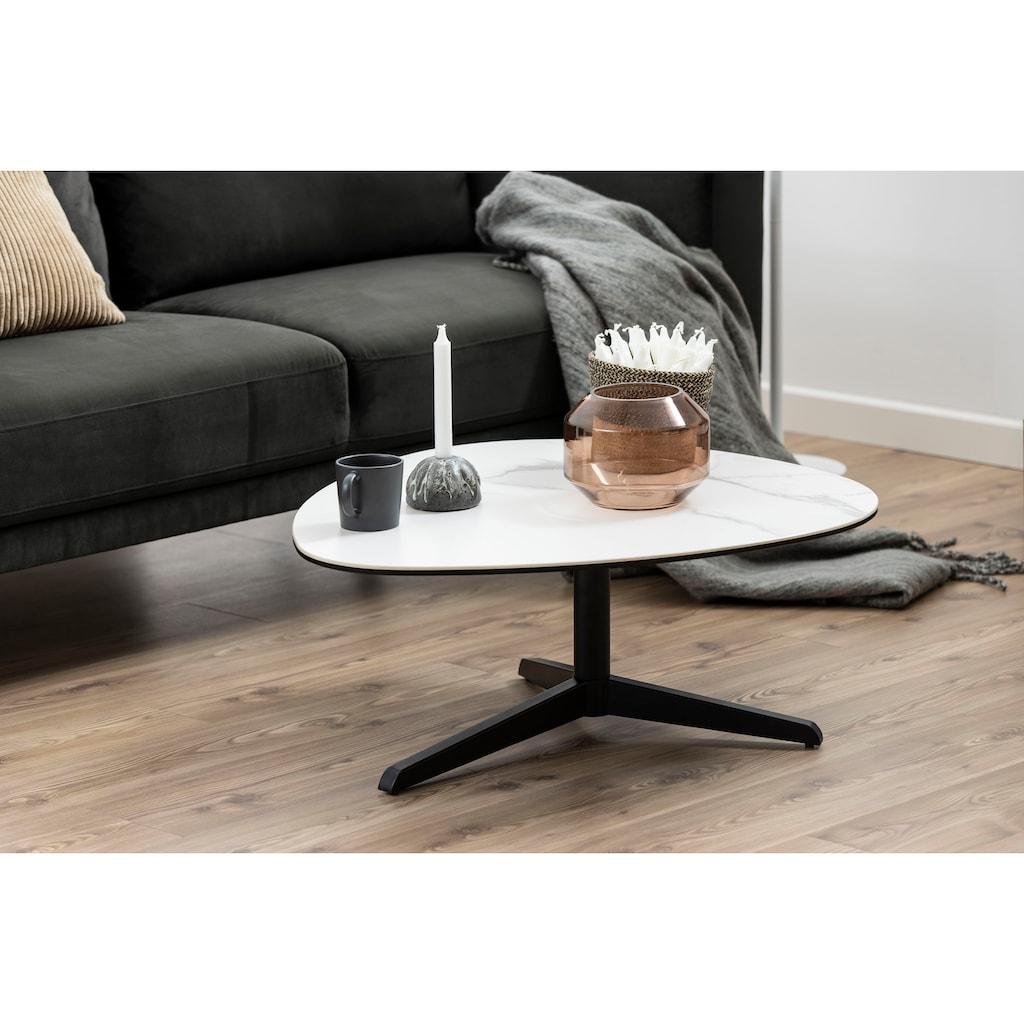 andas Couchtisch »Ben«, mit einer edlen Marmoroptik Tischplatte, einem 3-Bein Gestell aus Metall, Traubenform Artig