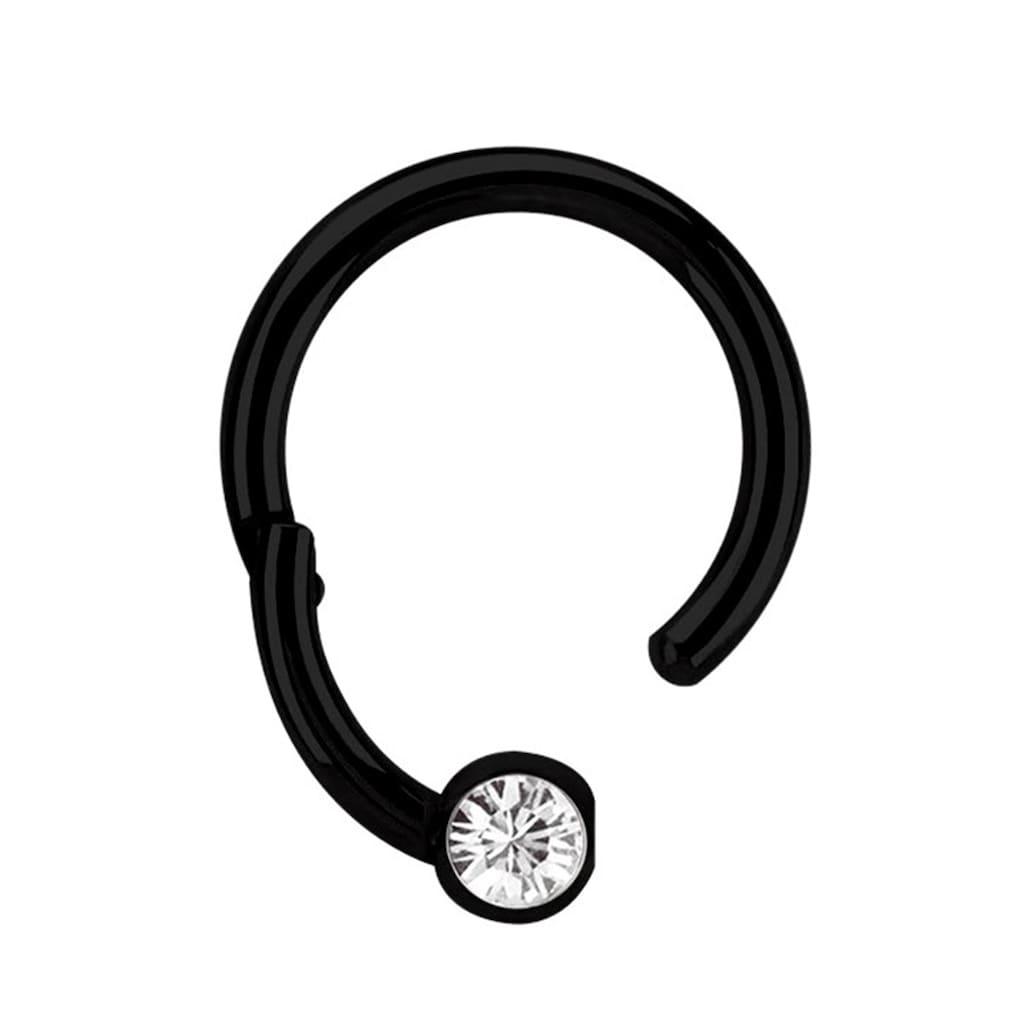 Adelia´s Nasenpiercing »Piercing Ring BCR, Clicker Stahl schwarz mit 3 mm Steinkugel«, Aus 316l Stahl? PVD schwarz beschichtet