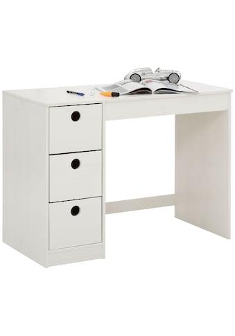 Lüttenhütt Schreibtisch »Alpi«, aus massivem Kiefernholz, Wangengestell, mit 3... kaufen