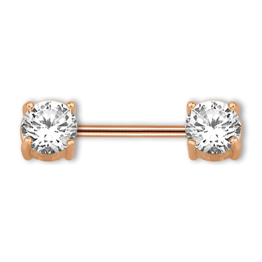 Adelia´s Brustwarzenpiercing »Brust Piercing, Intimpiercing rosegold mit runden Steinen«, Mit zwei gefassten, runden, klaren Steinen 5 mm Ø