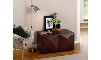 Home affaire Couchtisch »Diamond«, aus massivem Mangoholz mit 3D-Optik auf den Außenseiten, Breite 90 cm kaufen