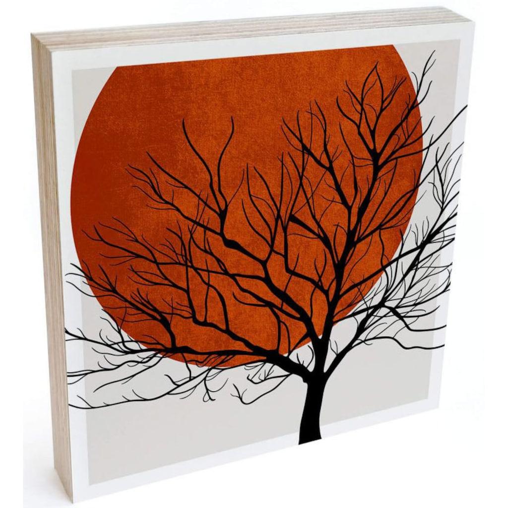 Wall-Art Holzbild »Tischdeko Sonnenuntergang«, (1 St.)