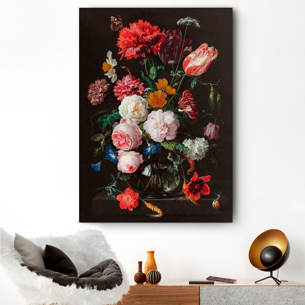 Reinders! Holzbild »Stilleben Blumen in Vase Jan Davidsz de Heem«, (1 St.)