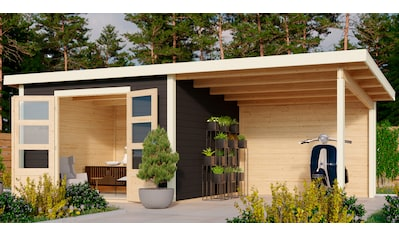 KARIBU Set: Gartenhaus »Edersee 3«, BxT: 623x333 cm, mit Anbaudach kaufen