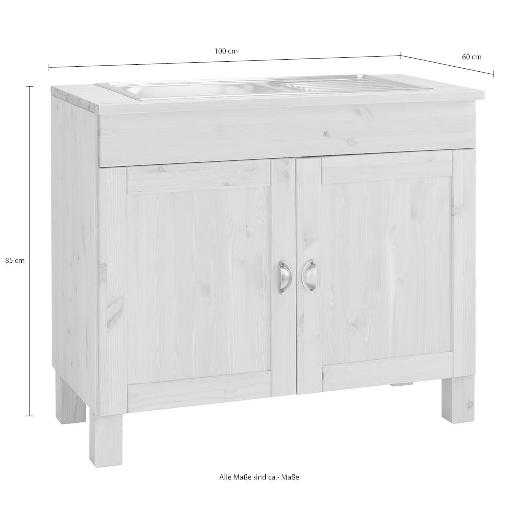 Home affaire Spülenschrank »Oslo«, 100 cm breit, in 2 Tiefen, inklusive Einbauspüle aus Edelstahl, mit 23 mm starker Arbeitsplatte, aus massiver Kiefer, Metallgriffe