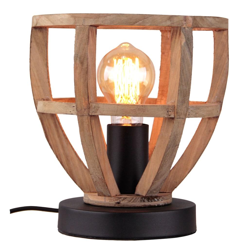 Brilliant Leuchten Matrix Wood Tischleuchte 20cm antik holz/schwarz korund