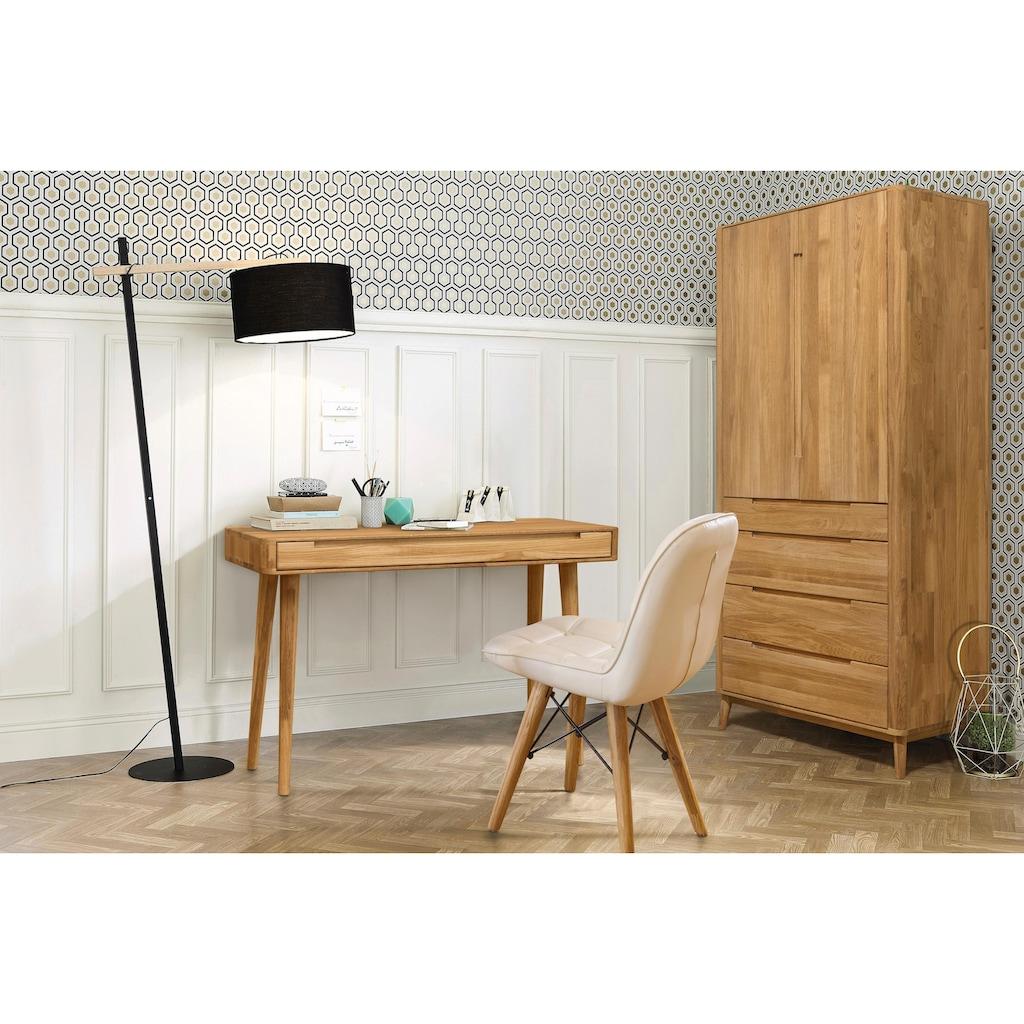 Home affaire Schreibtisch »Scandi«, aus massivem Eichenholz, mit vielen Stauraummöglichkeiten, Breite 110 cm