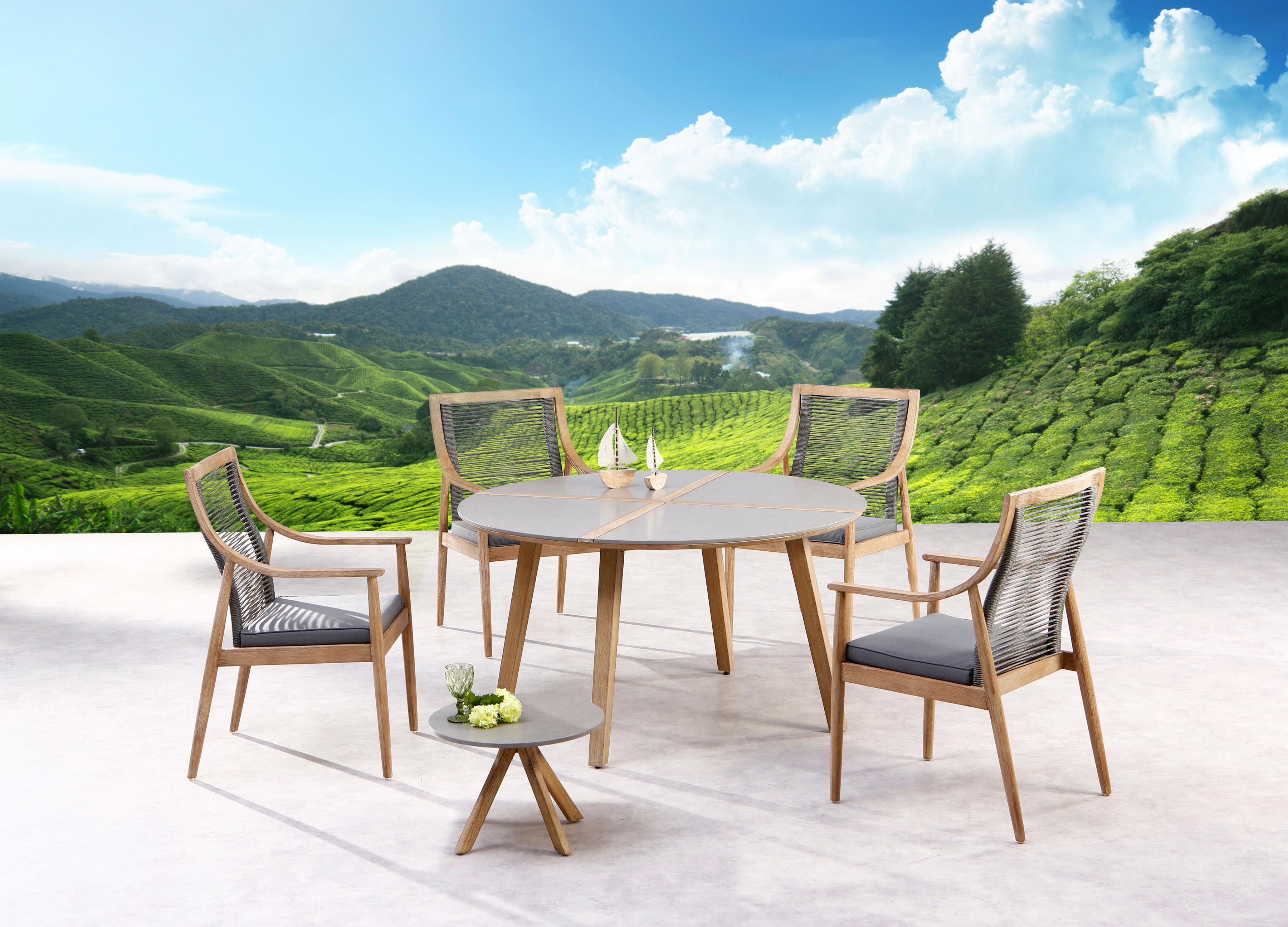 BEST Gartenmöbelset Barletta 6-tlg 4 Sessel Tisch Ø140 cm Beistelltisch Grandis Holz