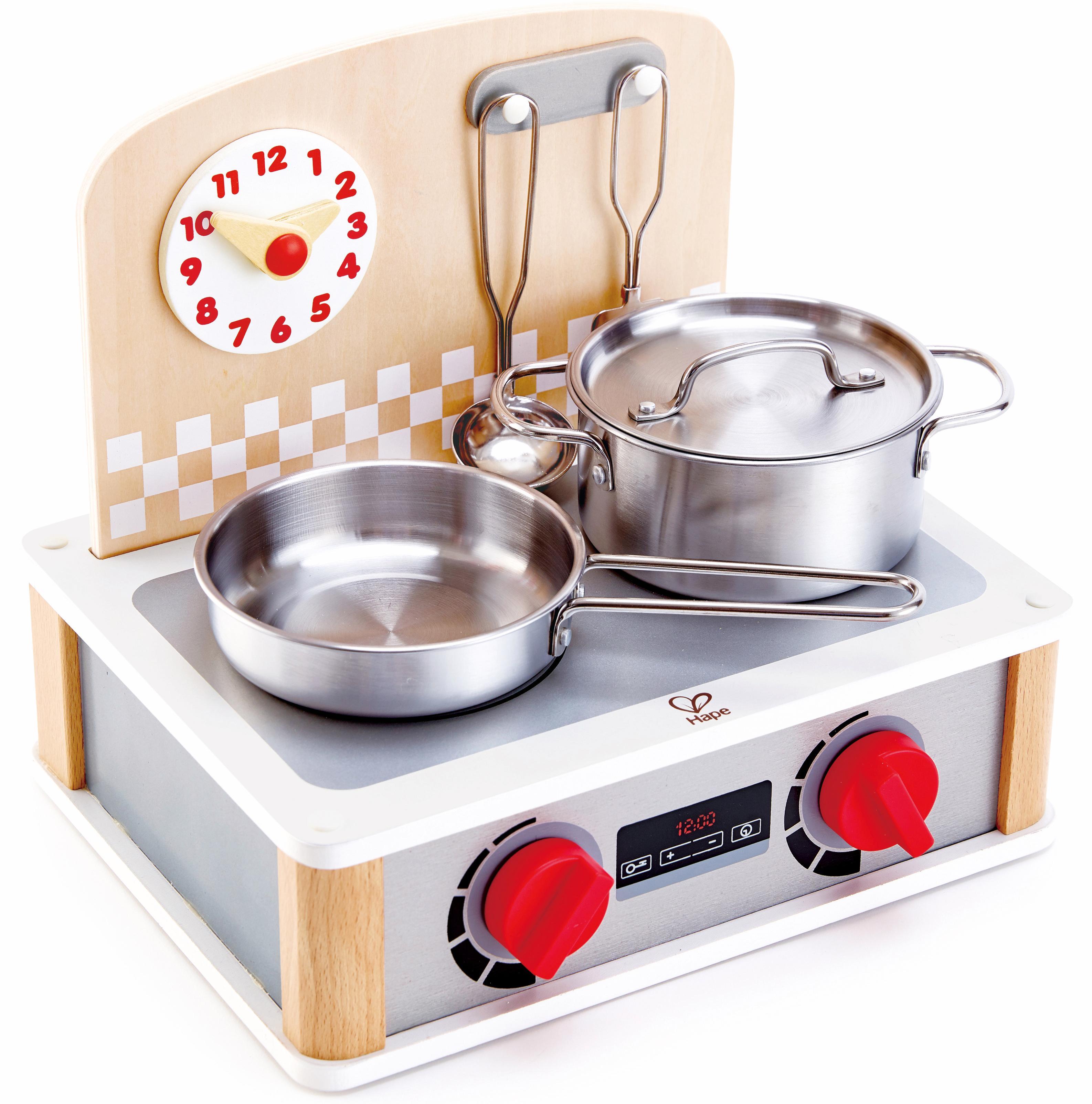 Hape Kinder-Küchenset 2-in-1 Küchen- & Grill-Set, 6-tlg. silberfarben Kinder Kinderküchen Zubehör Kaufladen Spielzeug-Haushaltsgeräte