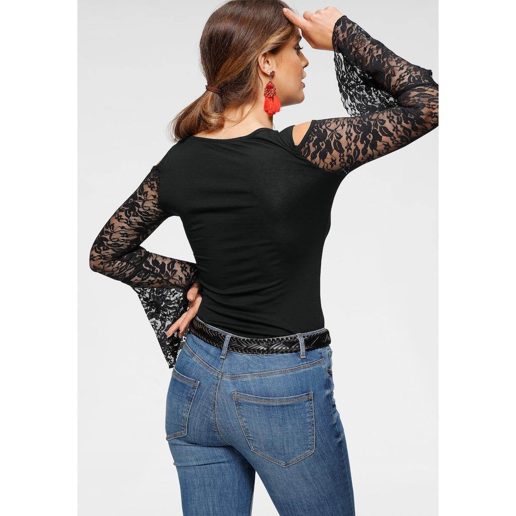 Melrose Rundhalsshirt, mit Volantärmeln aus Spitze