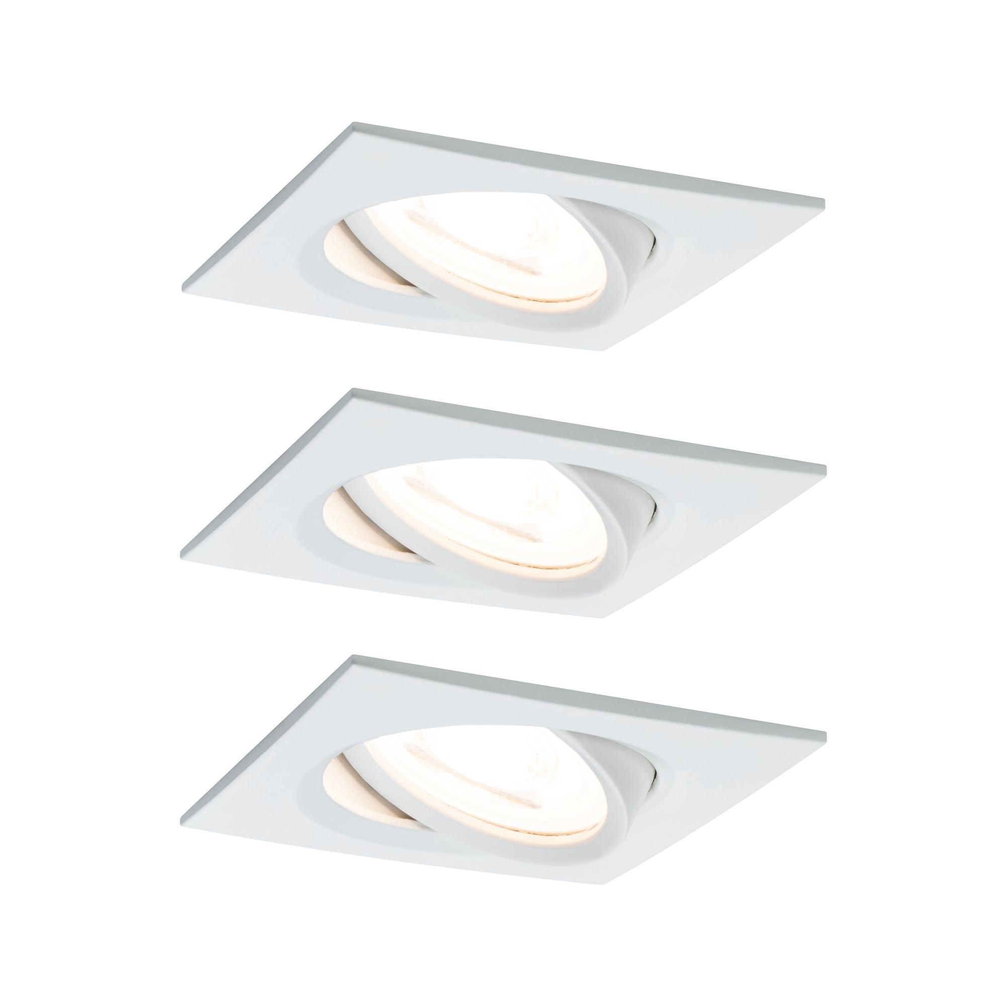 Paulmann LED Einbaustrahler Nova eckig 3x6,5W Weiß matt schwenkbar, Warmweiß
