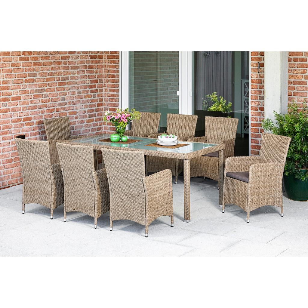 MERXX Gartenmöbelset »Lipari«, (9 tlg.), 8 Sessel mit Sitzkissen und Tisch