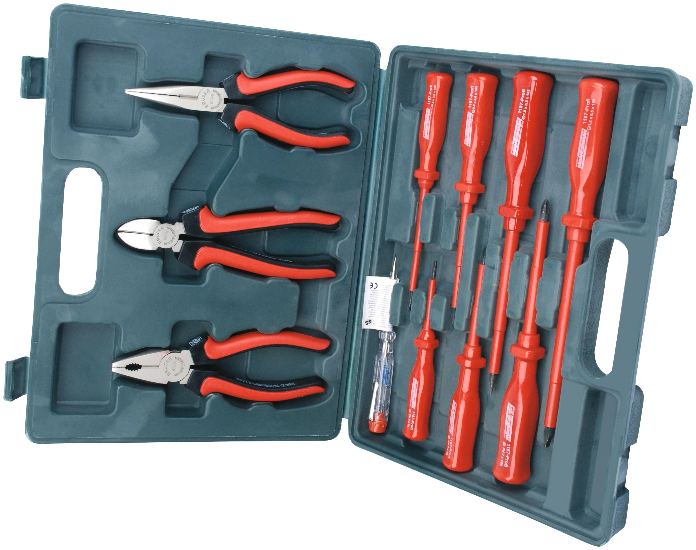 Brüder Mannesmann Werkzeuge Werkzeugset, (11 St.) rot Werkzeugkoffer Werkzeug Maschinen Werkzeugset