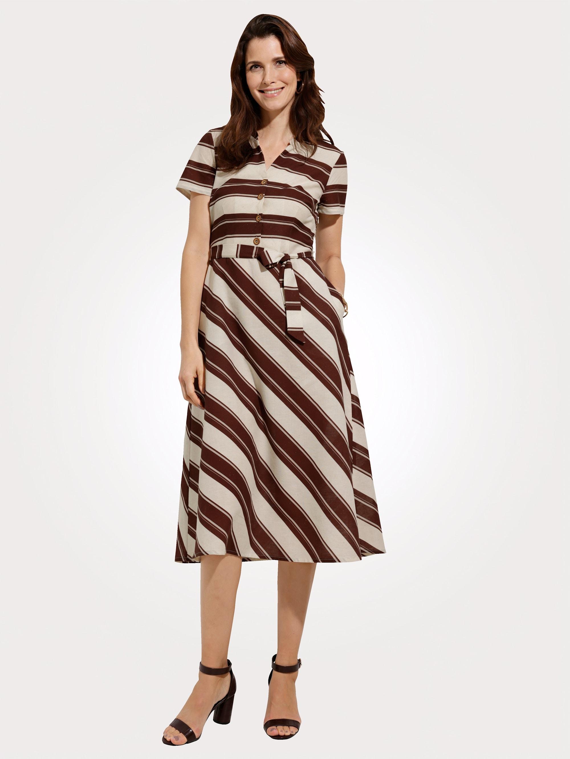 mona -  Hemdblusenkleid, aus angenehmer Baumwoll-Leinen-Mischung