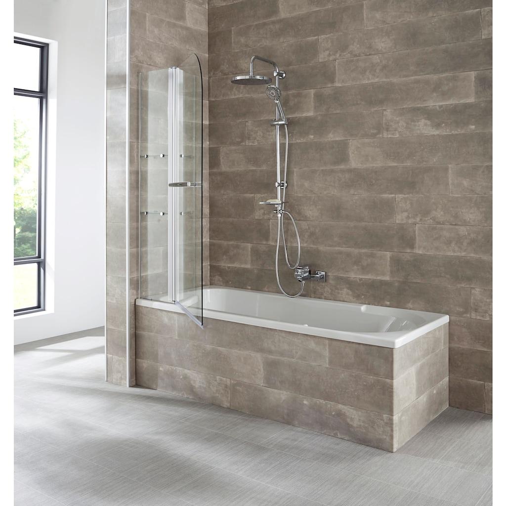 welltime Badewannenaufsatz »Girona«, mit verchromtem Handtuchhalter und Glasablagen
