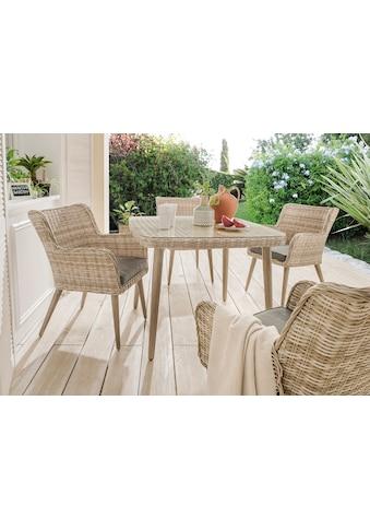 DESTINY Gartenmöbelset »Correda«, 9 - tlg., 4 Sessel, Tisch 100x100 cm, Alu/Polyrattan kaufen